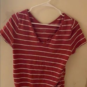 Red and white striped maternity shirt